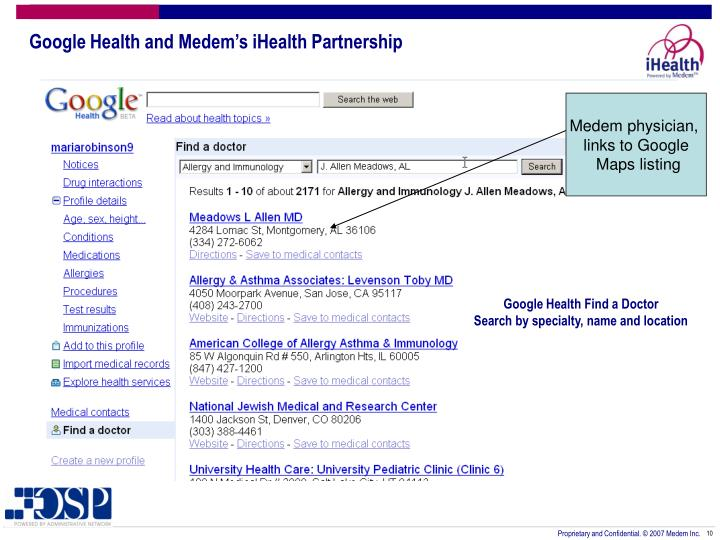 Google Health and Medem's iHealth Partnership