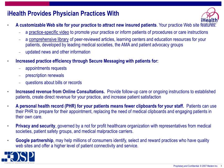 Ihealth provides physician practices with