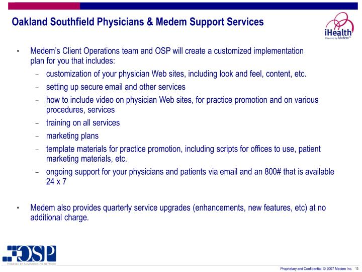 Oakland Southfield Physicians & Medem Support Services