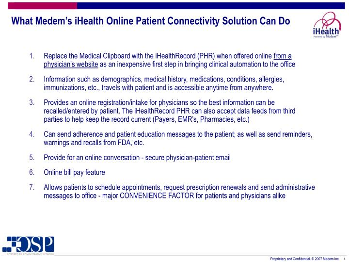 What Medem's iHealth Online Patient Connectivity Solution Can Do