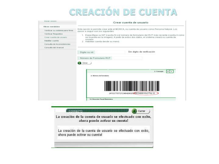 CREACIÓN DE CUENTA