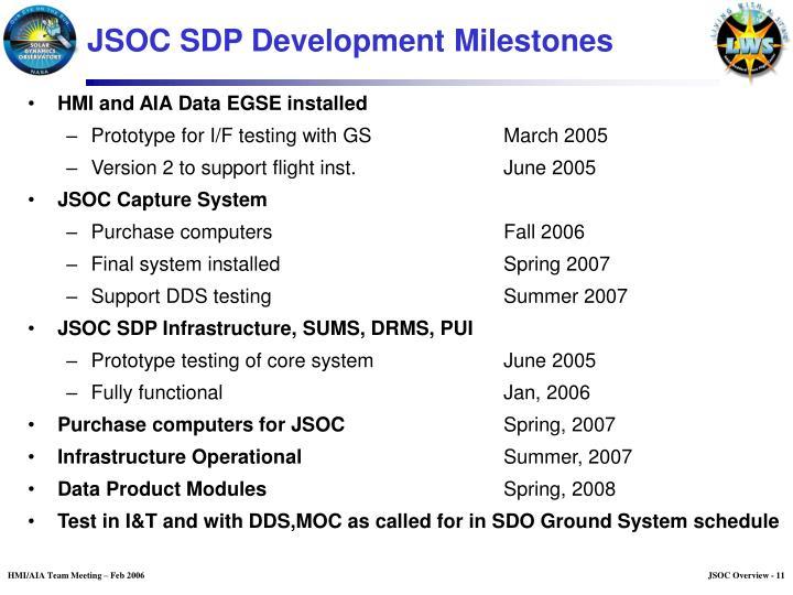 JSOC SDP Development Milestones