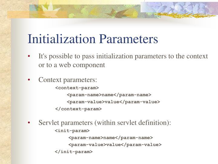 Initialization Parameters