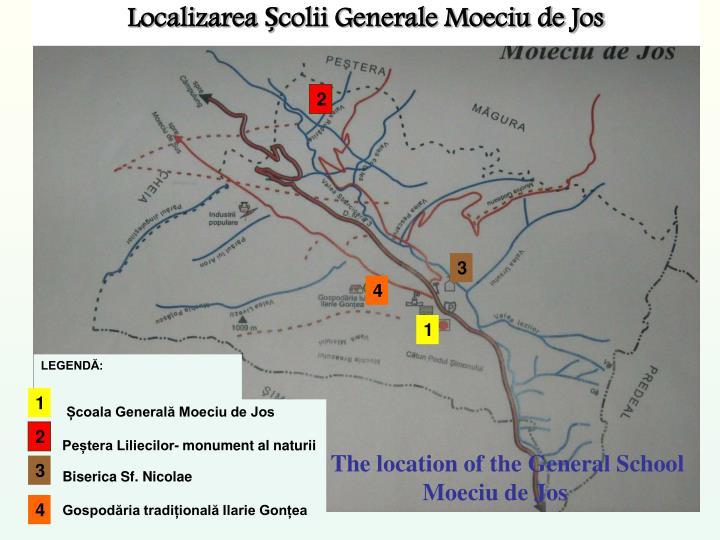 Localizarea Școlii Generale Moeciu de Jos