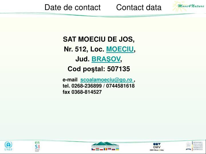 Date de contact       Contact data