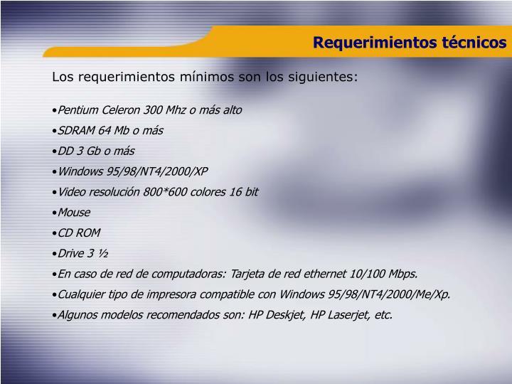 Requerimientos técnicos