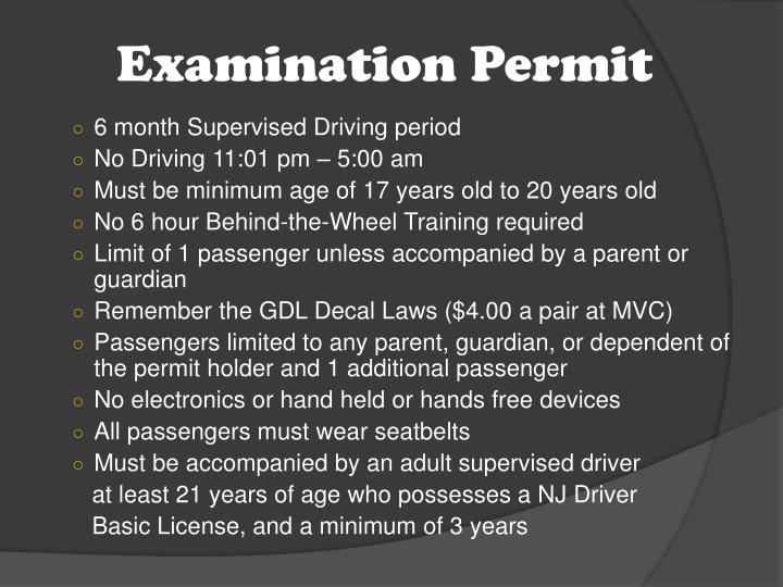 Examination Permit