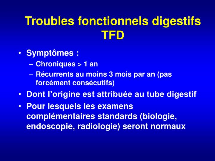 Troubles fonctionnels digestifs TFD