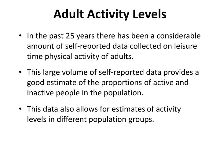 Adult Activity Levels