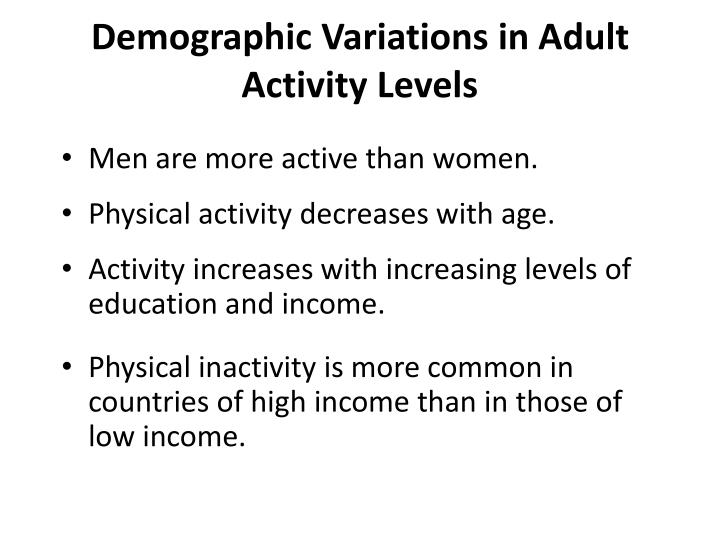 Demographic Variations in Adult Activity Levels