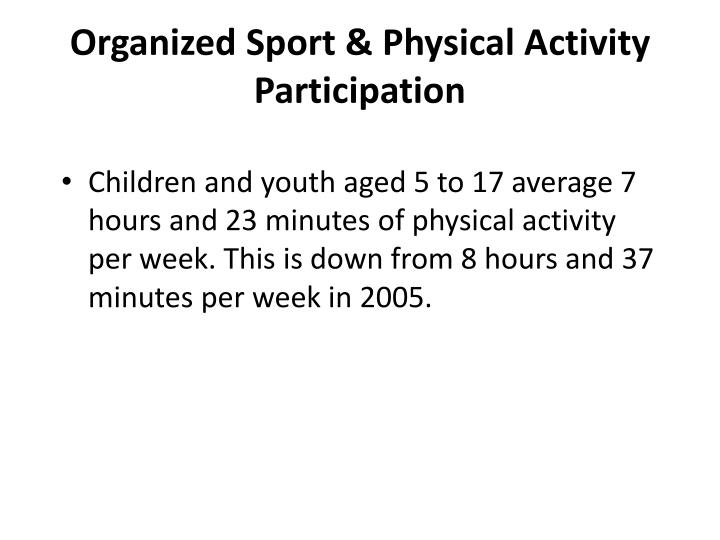 Organized Sport & Physical Activity Participation