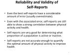 reliability and validity of self reports1
