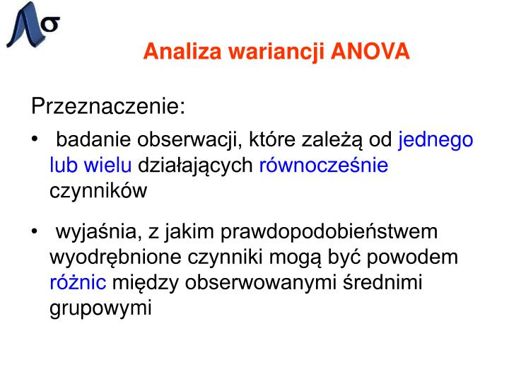 Analiza wariancji ANOVA