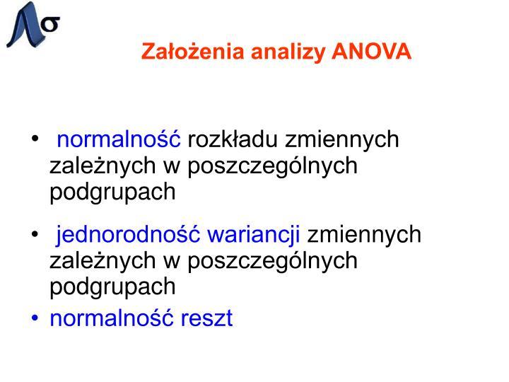 Założenia analizy ANOVA