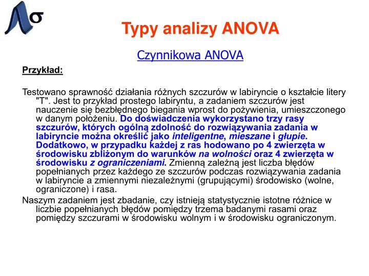 Typy analizy ANOVA