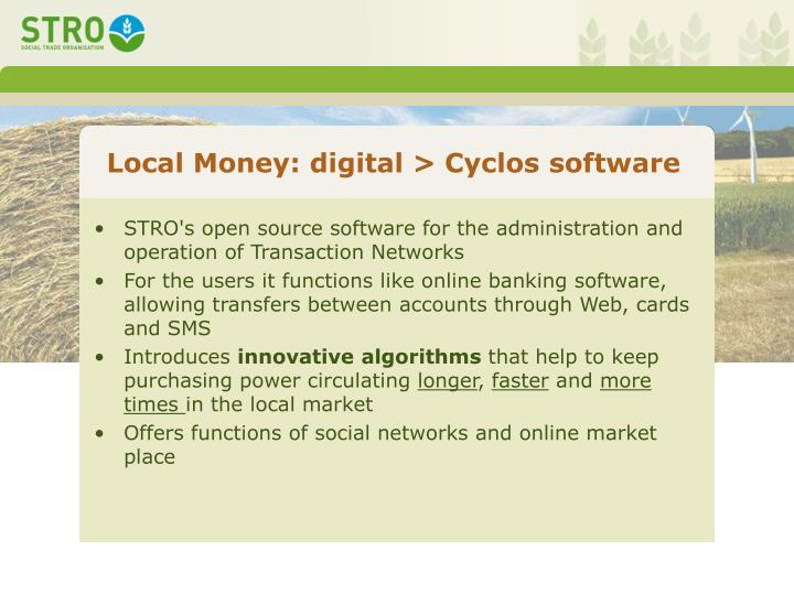 Local Money: digital > Cyclos software