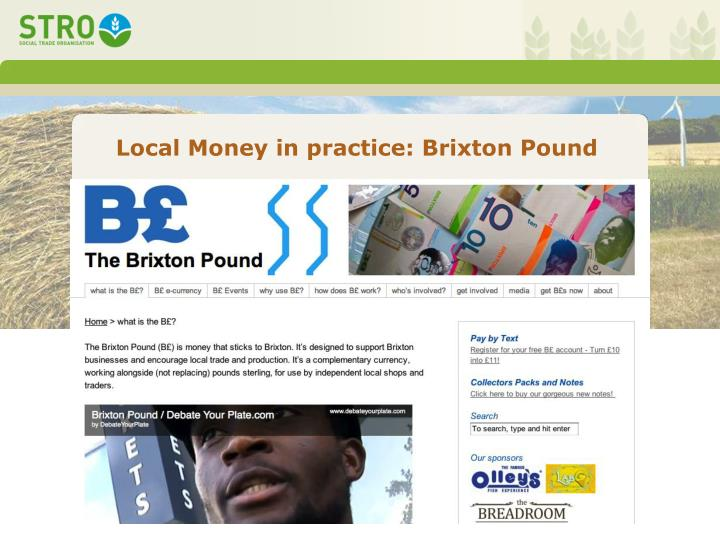 Local Money in practice: Brixton Pound