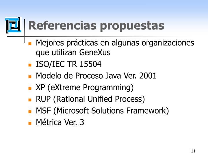 Referencias propuestas