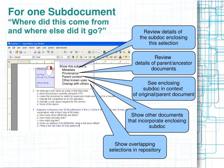 For one Subdocument