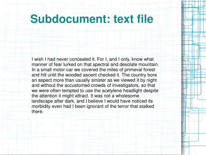 Subdocument: text file