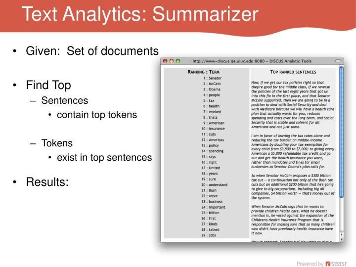 Text Analytics: Summarizer