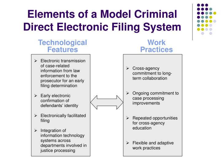 Elements of a Model Criminal Direct Electronic Filing System