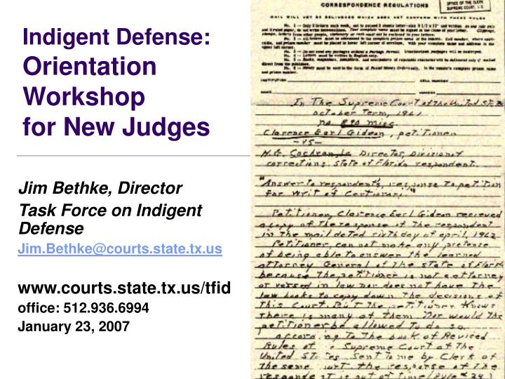 Indigent defense orientation workshop for new judges