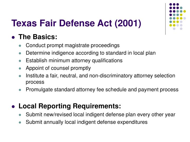 Texas Fair Defense Act (2001)