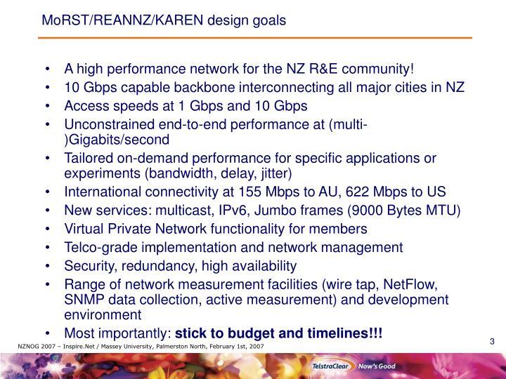 MoRST/REANNZ/KAREN design goals