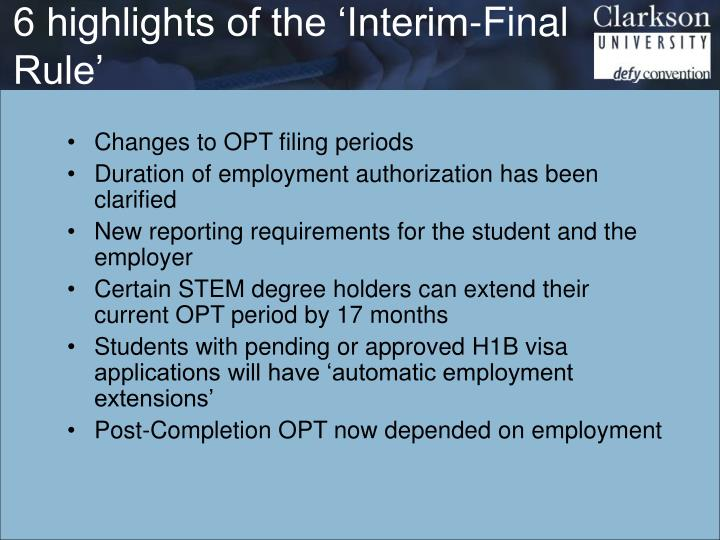 6 highlights of the 'Interim-Final Rule'