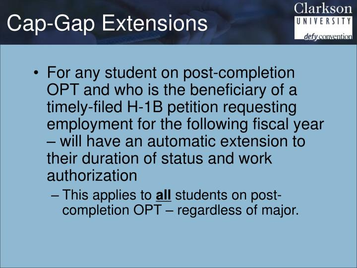 Cap-Gap Extensions