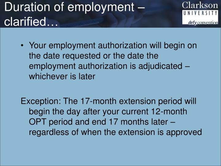 Duration of employment – clarified…