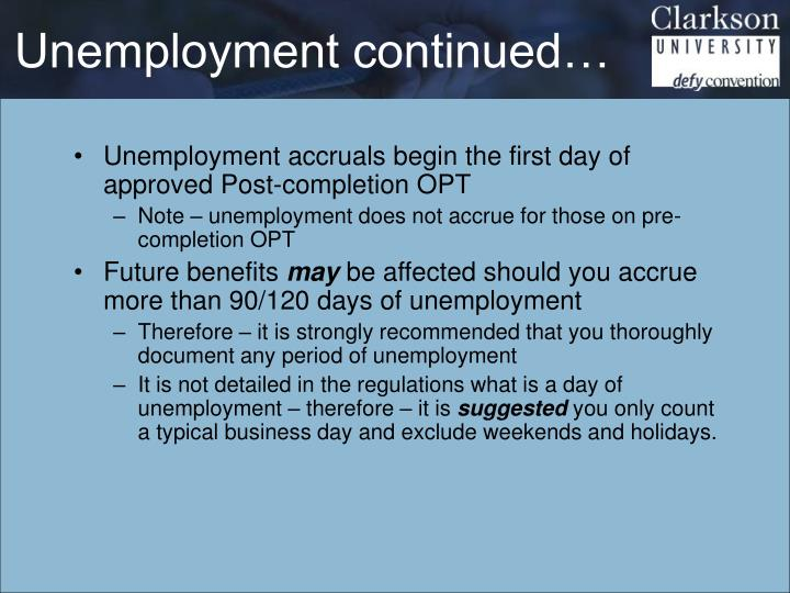 Unemployment continued…