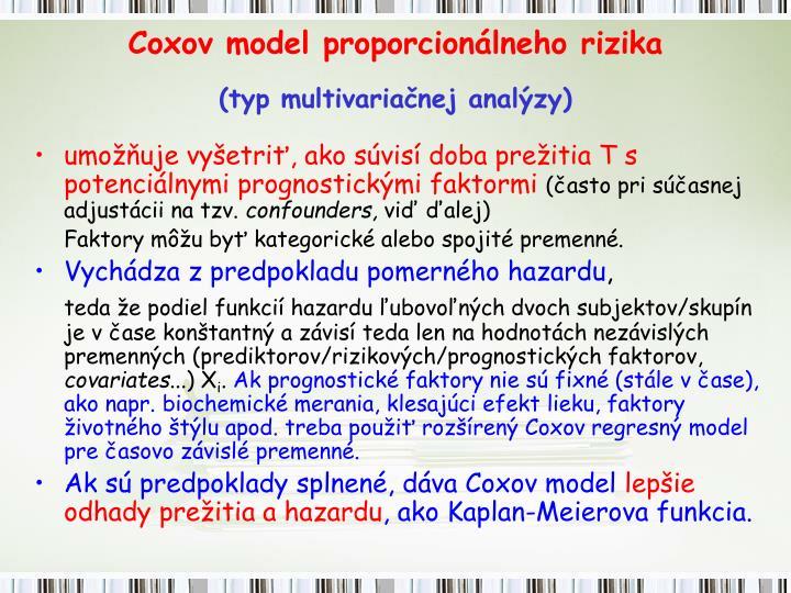 Coxov model proporcionálneho rizika