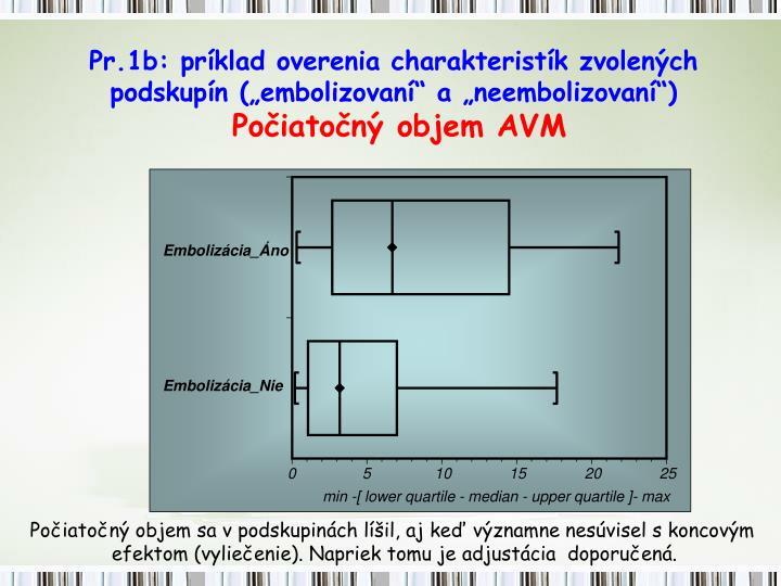 """Pr.1b: príklad overenia charakteristík zvolených  podskupín (""""embolizovaní"""" a """"neembolizovaní"""")"""