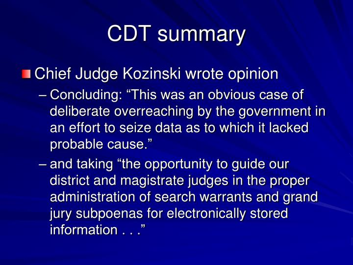 CDT summary