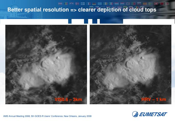Better spatial resolution => clearer depiction of cloud tops