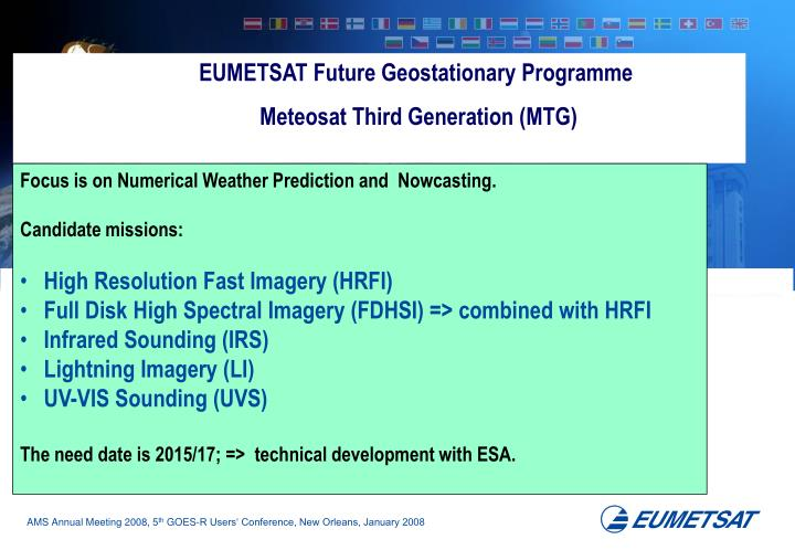 EUMETSAT Future Geostationary Programme