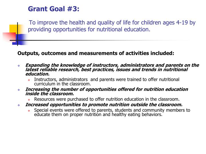 Grant Goal #3:
