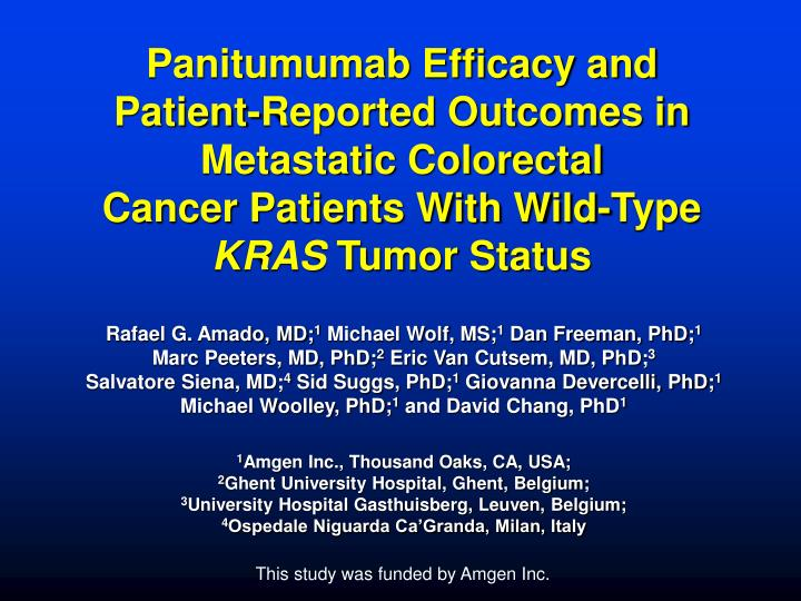 Panitumumab Efficacy and Patient-Reported Outcomes in Metastatic Colorectal