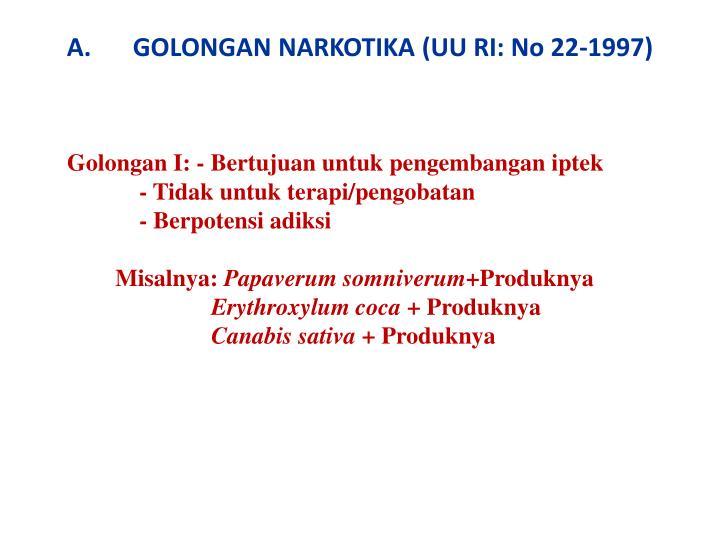 GOLONGAN NARKOTIKA (UU RI: No 22-1997)