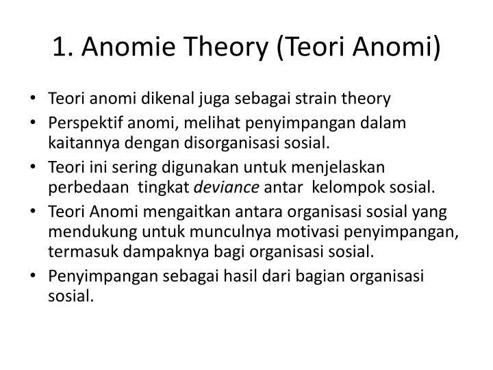 1. Anomie Theory (Teori Anomi)