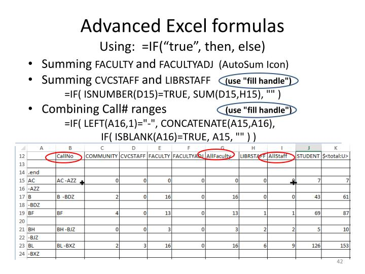 Advanced Excel formulas
