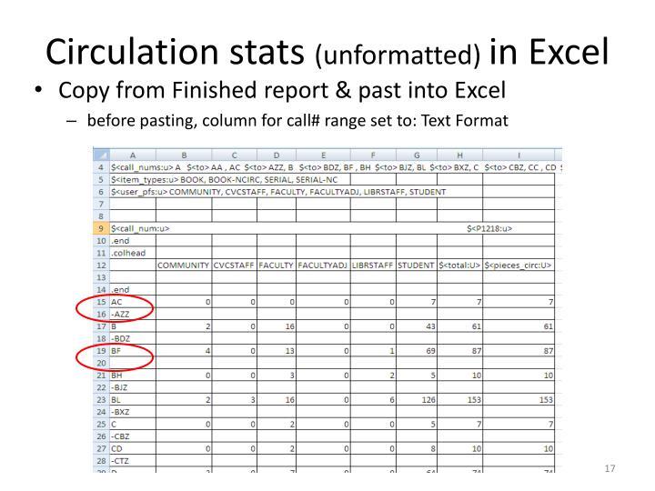 Circulation stats