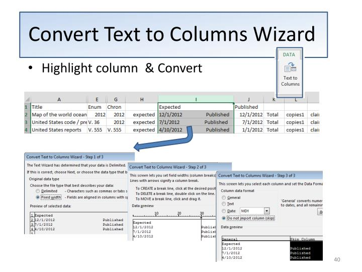 Convert Text to Columns Wizard