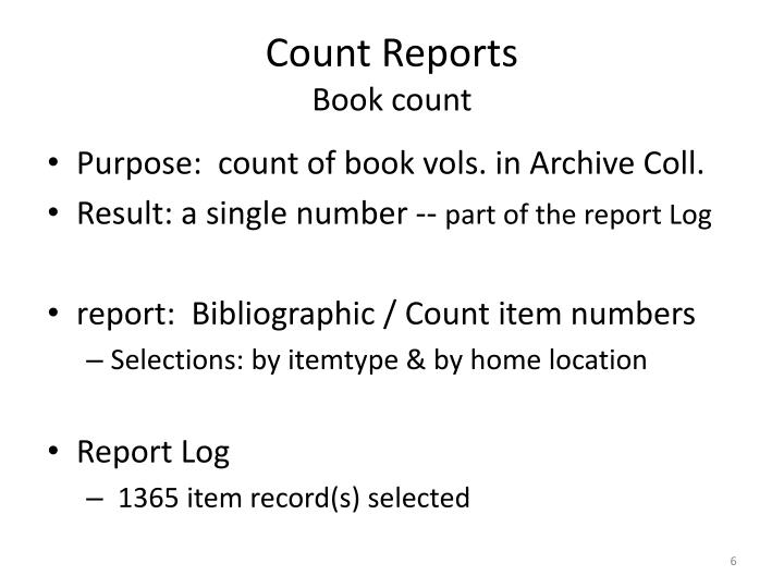 Count Reports