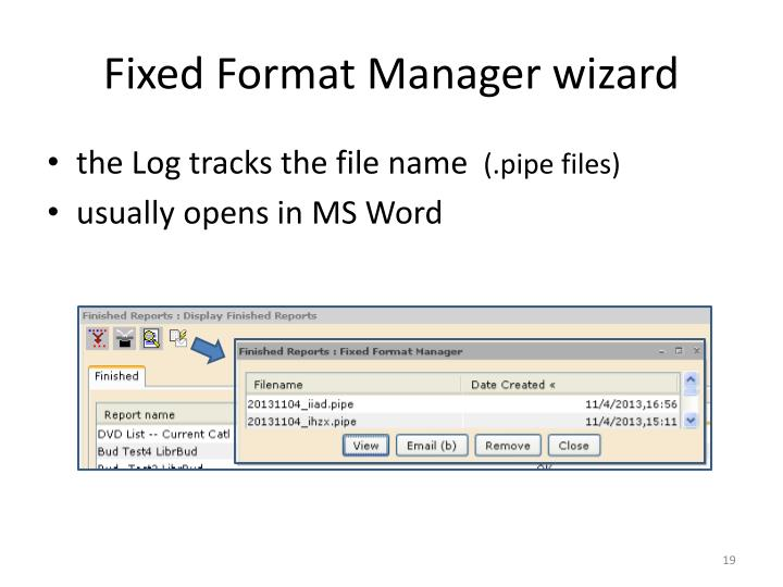 Fixed Format Manager wizard