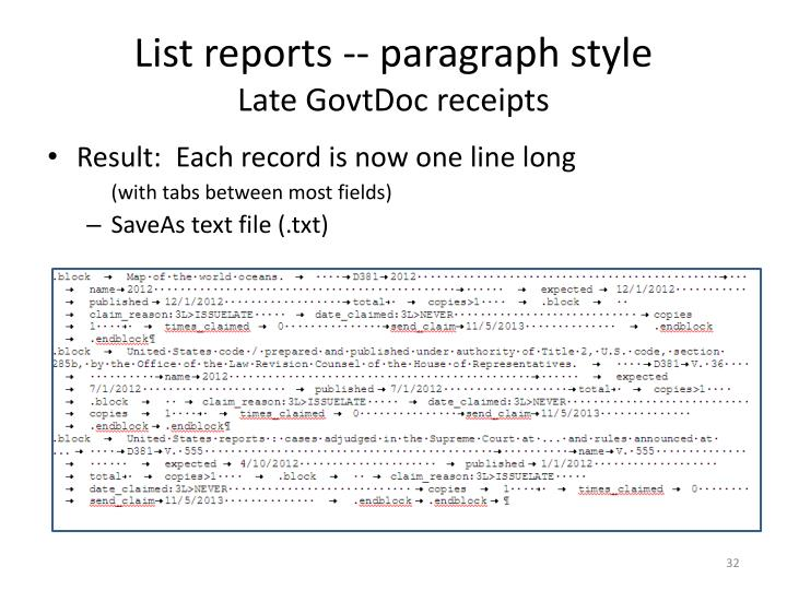 List reports -- paragraph style
