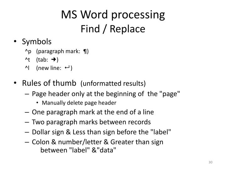 MS Word processing