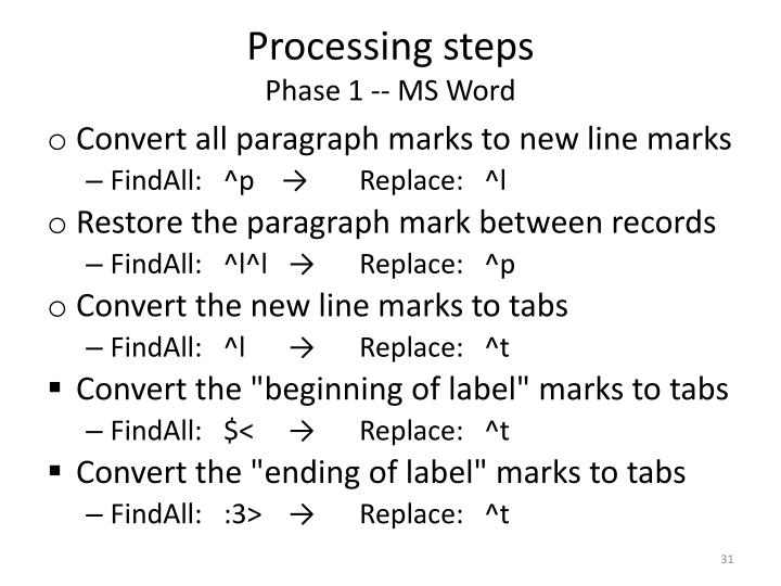 Processing steps